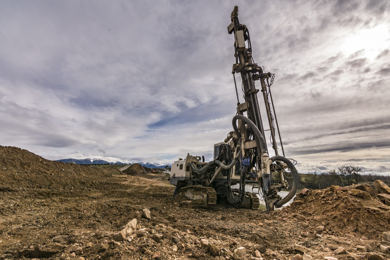 Drilling rock in the works of creating a road