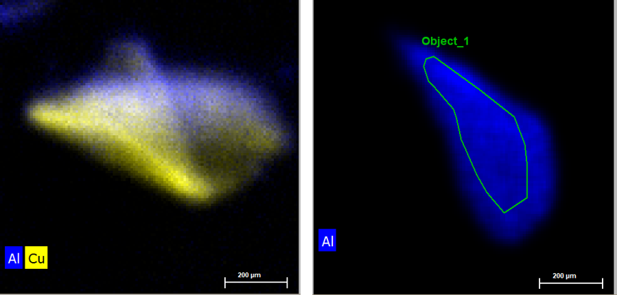 Map of different Al flakes. The sample is thickest where the color signal is brightest. The left pictrue shows an Al particle of roughly 500 µm width. This particle is folded, whis from the optical image was not apparent. The right pictrue shows an even smaller particle which overall is thicker than the first sample. The thickness information is obtained easiest by a quick Map of the whole particle.