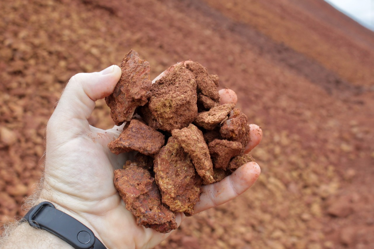 Bauxite in the palm