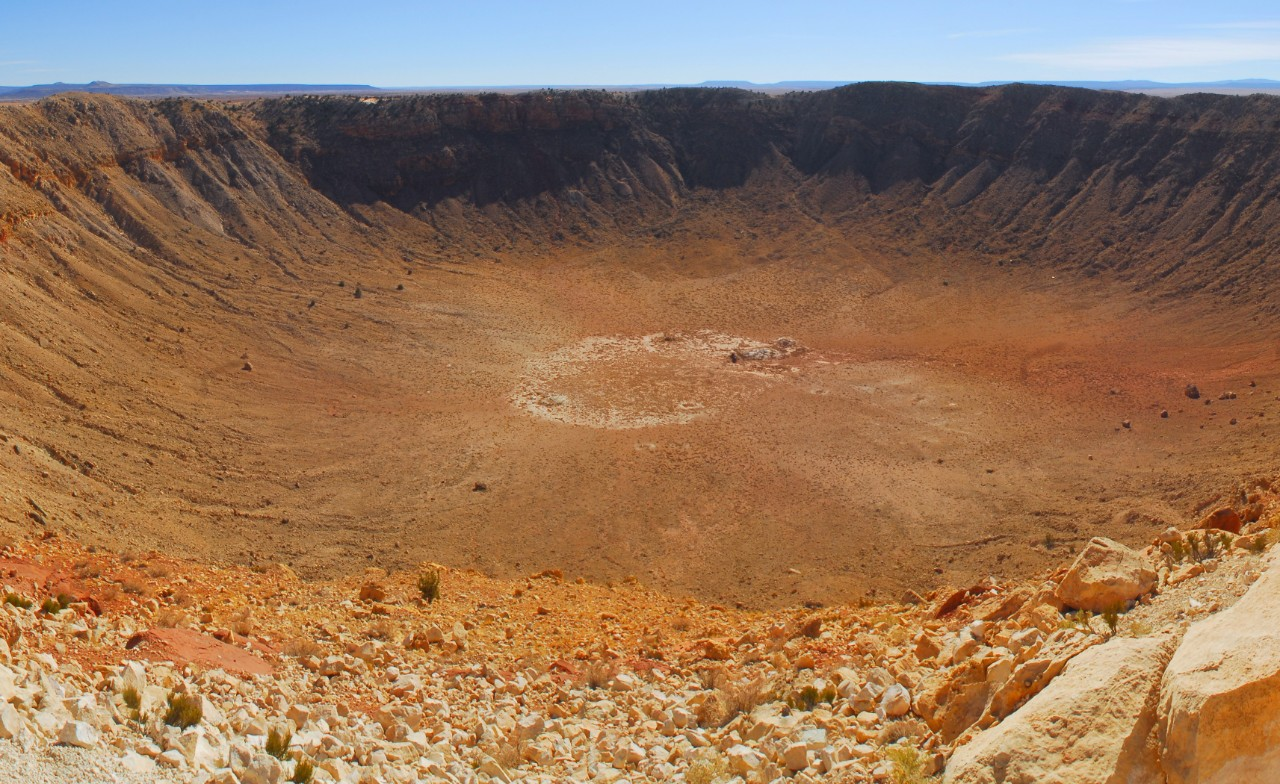 Meteor Crater, Arizona, formed during an impact c. 50,000 years ago.