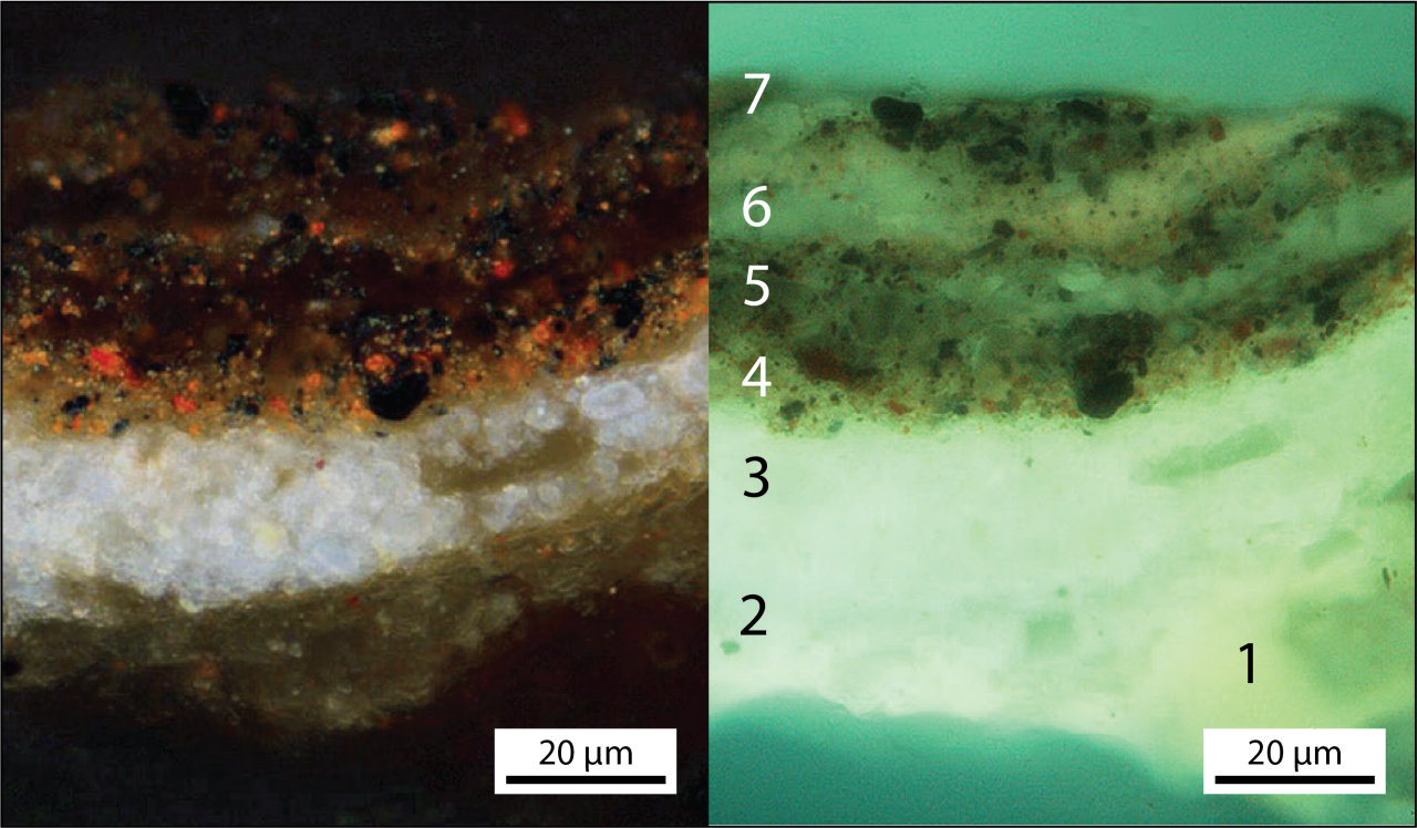 Visible light and UV fluorescence light images of a paint cross-section taken from the flesh shadows of Christ's right hand. Numbers indicate layers of different compositions.