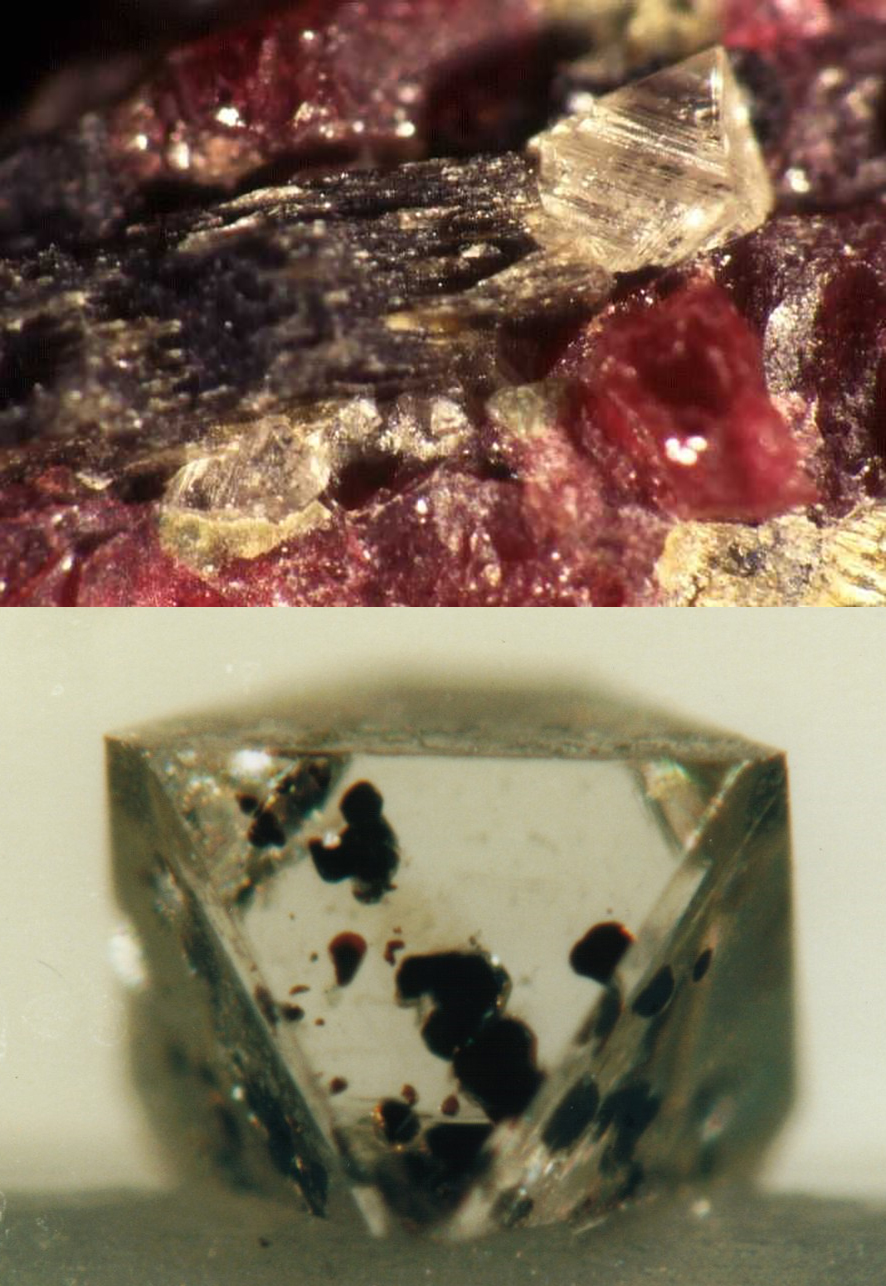Natural diamonds with their associated indicator minerals as part of a peridotite (top) and as inclusions
