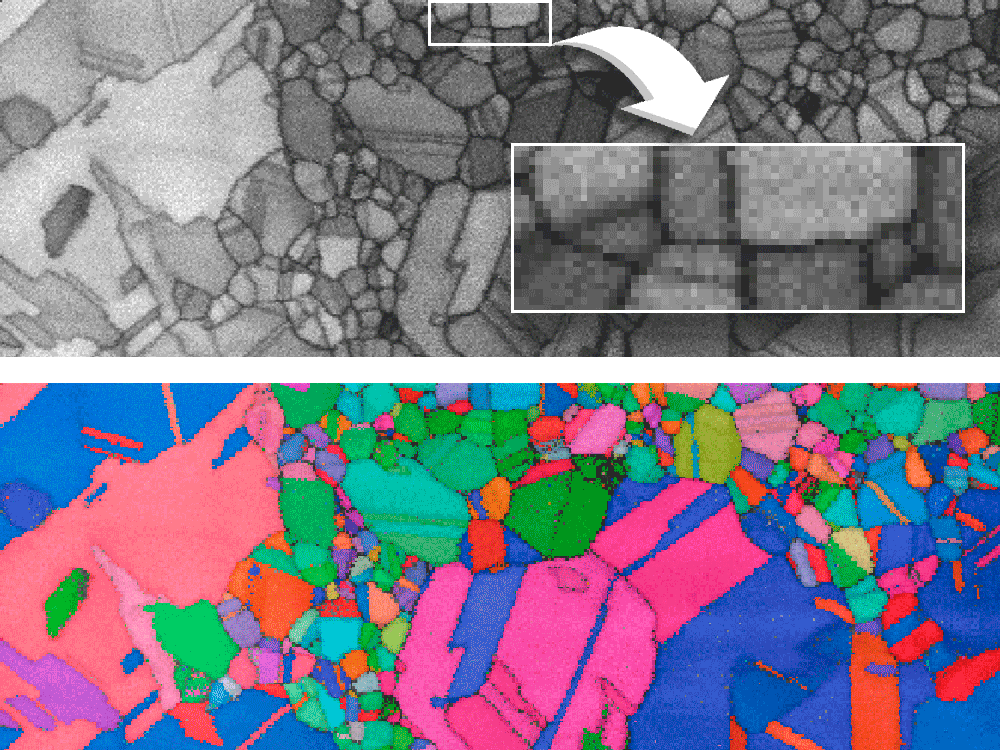 Pattern quality map and corresponding raw orientation map acquired at 100 fps with a 4 nm step size from a FIB prepared Au sample using ~0.6 nA probe current and 28 kV EHT. The effective spatial resolution is at least 3 nm.