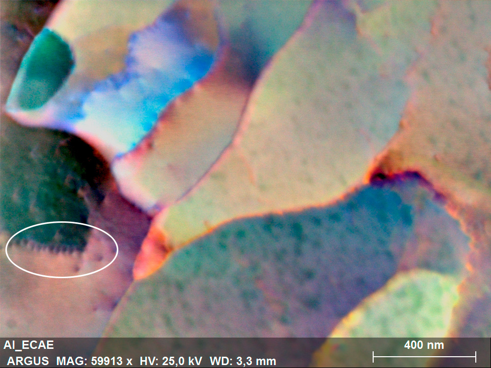 Color coded dark field image acquired from a heavily deformed pure Al sample. The insert shows individual dislocations.