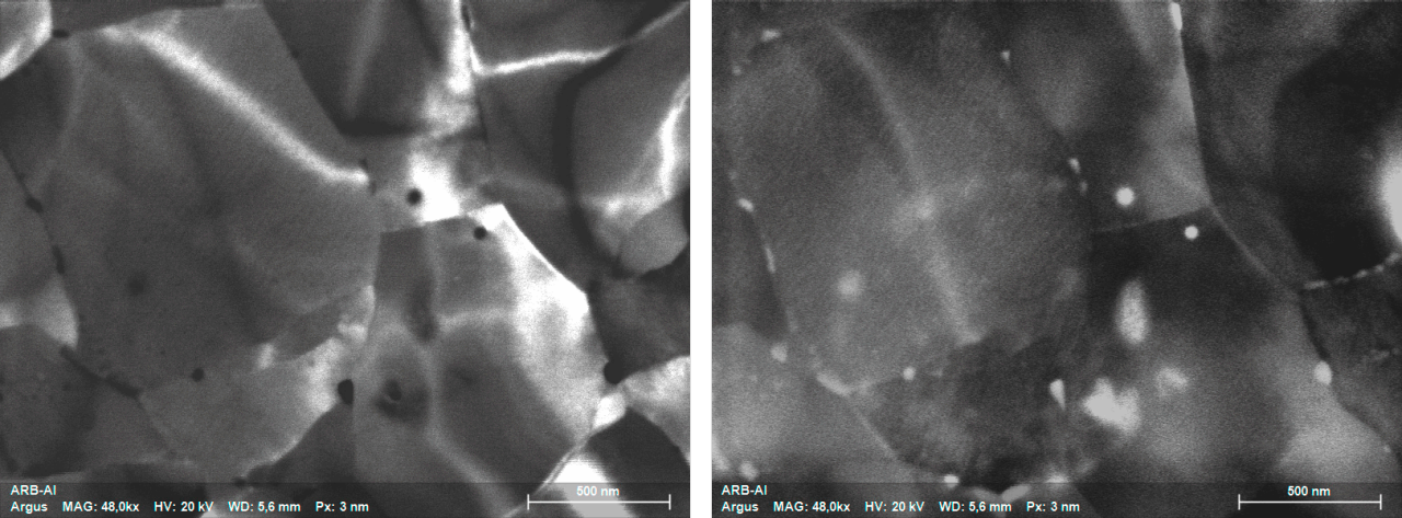Bright field (left) and corresponding dark field image (right) acquired simultaneously from heavily deformed (ARB) Al alloy sample showing the presence of precipitates at the grain boundaries.
