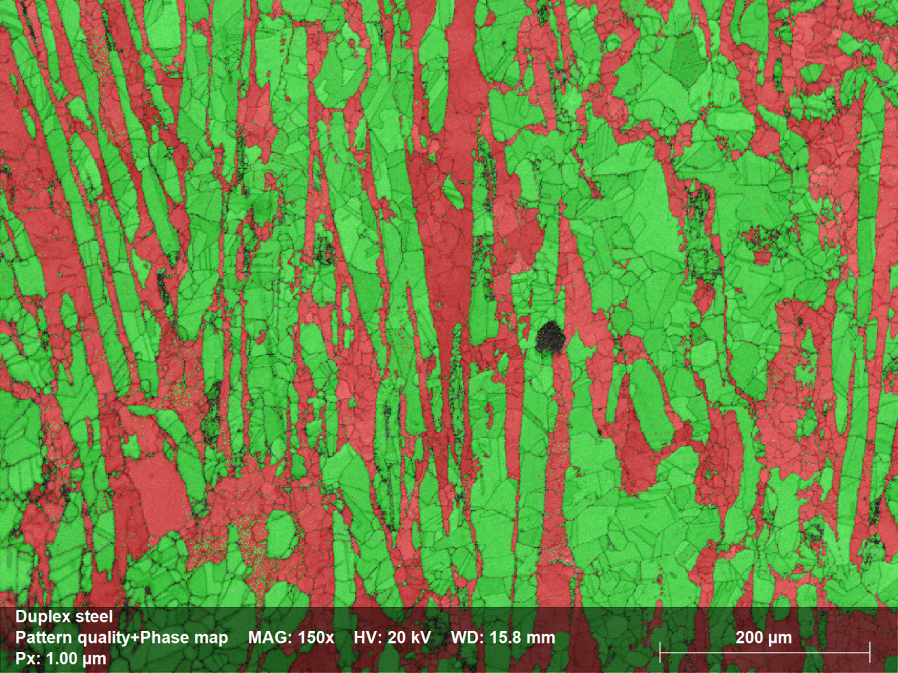 Phase Distribution Map showing Ferrite phase in red and Austenite phase in green; phase ratio was 39% and 61% respectively; mapping time: 18:01min, Map size: 548,000pixels, zero solutions: 5.7%. No data cleaning applied!