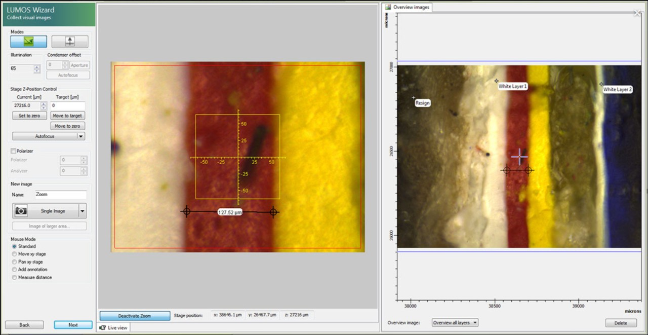 Screenshot of OPUS software: Visual sample inspection for acquisition of single and assembled visual overview.