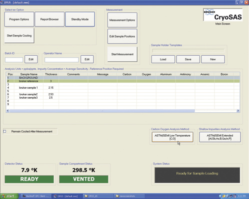 CryoSAS main software screen displaying the currently loaded samples and the chosen analysis methods.