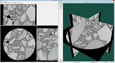 Three orthogonal virtual slices through a sample of concrete
